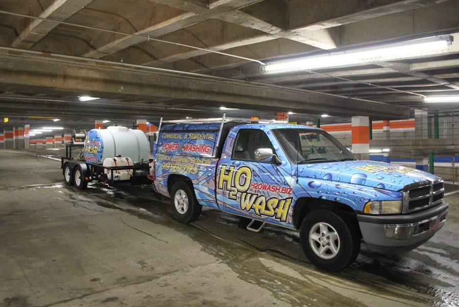 pressure wash parking deck 331